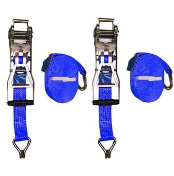 2 x 50mm 8 metre 5 Ton Ergonomic Reverse RATCHET LASHING STRAPS MBL 5T Tie Down